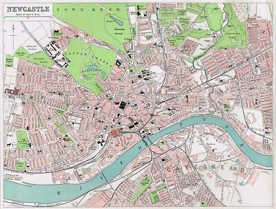 NEWCASTLE Street Plan Antique Map 1903 by Bartholomew