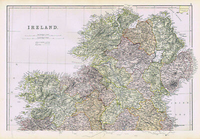IRELAND The North Part - Antique Map 1883 by Blackie