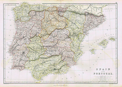 SPAIN & PORTUGAL Antique Map 1883 by Blackie