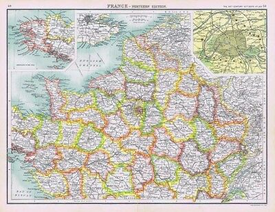 FRANCE (North) Antique Map 1902 by Bartholomew; Inset of Paris