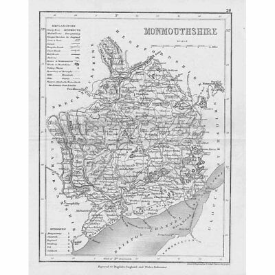 MONMOUTHSHIRE Antique Map 1840 by Archer for Dugdales England & Wales Delineated