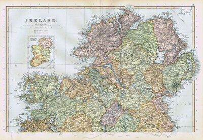 IRELAND The North Part with inset of the Provinces - Antique Map 1895 by Blackie
