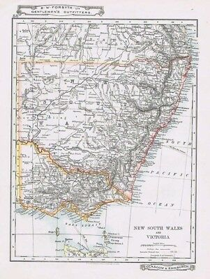 AUSTRALIA New South Wales & Victoria - Antique Map c1912 by W&AK Johnston