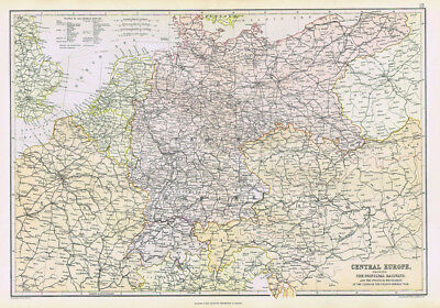 EUROPE Central Part Showing Principal Railways - Antique Map 1883 by Blackie