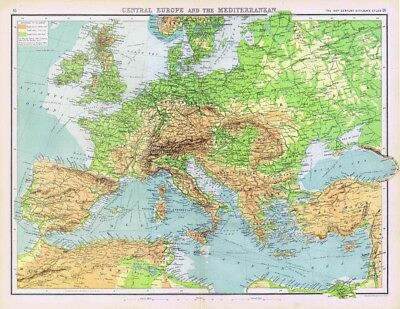 CENTRAL EUROPE and THE MEDITERRANEAN Antique Map 1902 by Bartholomew
