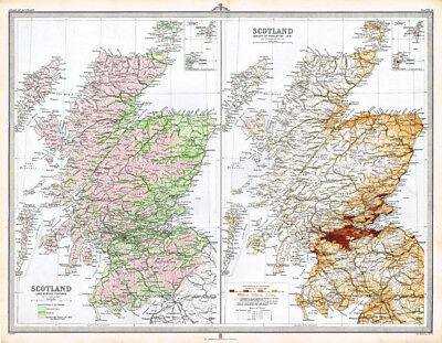 SCOTLAND Land Features and Population Density - Antique Map 1895 by Bartholomew