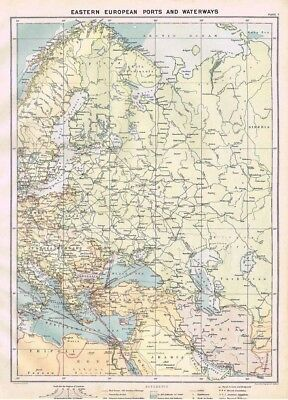 EASTERN EUROPEAN PORTS & WATERWAYS Antique Mercantile Map 1904