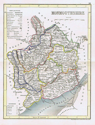 MONMOUTHSHIRE Antique Coloured Map c1840s by Archer for Dugdales