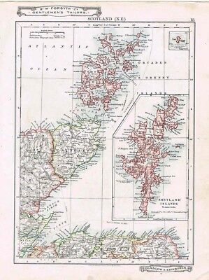 SCOTLAND NE Orkney, Shetland, Caithness - Antique Map c1912 by W&AK Johnston