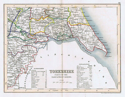 YORKSHIRE EAST RIDING Antique Coloured Map c1840s by Archer for Dugdales