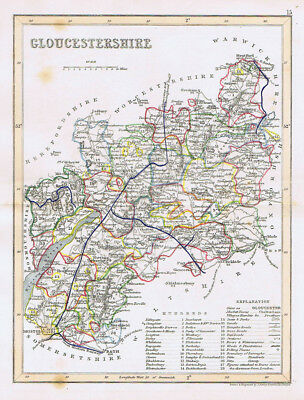 GLOUCESTERSHIRE Antique Coloured Map c1840s by Archer - Dugdales