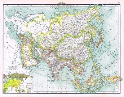 ASIA Antique Map 1902 by Bartholomew with Religion Distribution