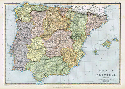 SPAIN & PORTUGAL Antique Map 1895 by Blackie