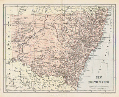 NEW SOUTH WALES Australia, Antique Map c1890 by W&A.K Johnston