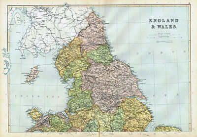 ENGLAND North Part - Antique Map 1895 by Blackie