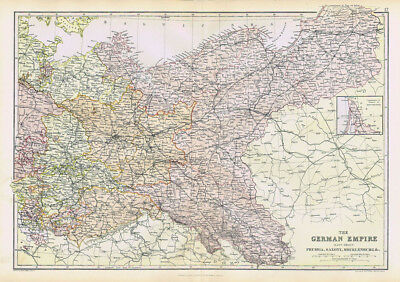 THE GERMAN EMPIRE Prussia, Saxony, Mecklenburg - Antique Map 1883 by Blackie