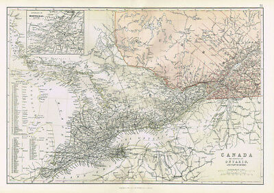 CANADA Province of Ontario & part of Quebec - Antique Map 1883 by Blackie