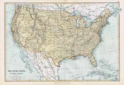UNITED STATES OF AMERICA Antique Map 1895 by Blackie