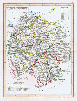 HEREFORDSHIRE Antique Coloured Map c1840s by Archer for Dugdales