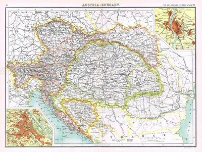 AUSTRIA/HUNGARY Antique Map 1902 by Bartholomew; Inset of Buda (Ofen) and Pest