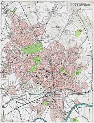 NOTTINGHAM Street Plan Antique Map 1903 by Bartholomew
