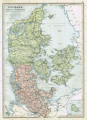 DENMARK with Schleswig and Holstein - Antique Map 1895 by Blackie