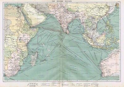 INDIAN OCEAN Showing Shipping Routes - Large Antique Mercantile Map 1904