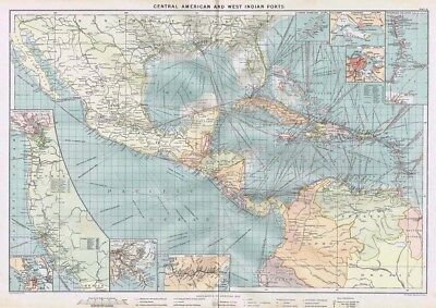 CENTRAL AMERICA and WEST INDIAN PORTS Large Antique Mercantile Map 1904