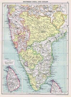 INDIA and CEYLON Vintage Map 1926 by Philip & Son