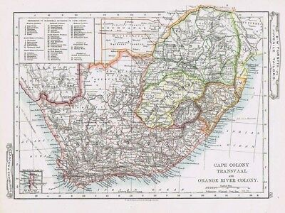 CAPE COLONY TRANSVAAL & ORANGE RIVER COLONY Antique Map c1912 by Johnston