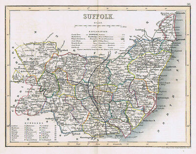SUFFOLK Antique Coloured Map c1840s by Archer for Dugdales