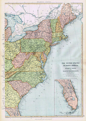 UNITED STATES OF AMERICA Atlantic States - Antique Map 1895 by Blackie