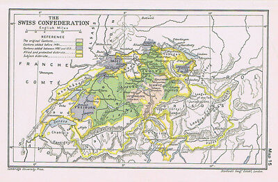 The Swiss Confederation in 15th & 16th Centuries Antique Map 1912