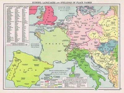 EUROPE Languages & Spelling of Place Names Vintage Map 1926 by Philip & Son