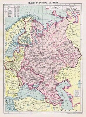 RUSSIA in Europe Vintage Map 1926 by Philip & Son