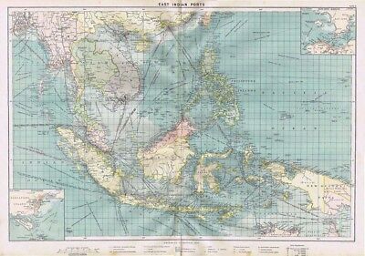 EAST INDIAN PORTS Showing Shipping Routes - Large Antique Mercantile Map 1904