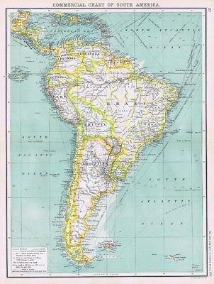 COMMERCIAL CHART OF SOUTH AMERICA Antique Map 1902 by Bartholomew