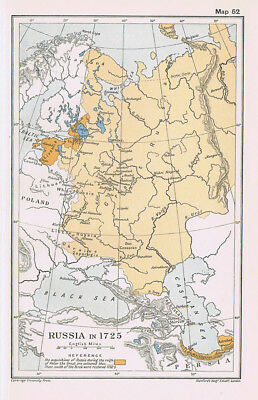 RUSSIA in the Year 1725 Antique Map 1912