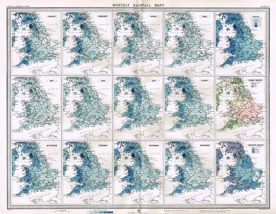 ENGLAND and WALES Average Monthly Rainfall - Antique Map c1903 by Bartholomew