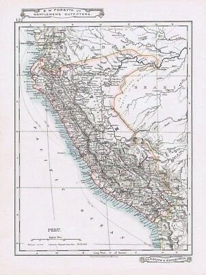 PERU Antique Map c1912 by W&AK Johnston