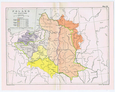 POLAND The 18th Century Partitions Antique Map 1912