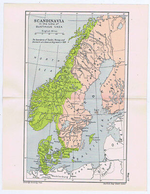 SCANDINAVIA In the Time of Gustavus Vasa Antique Map 1912