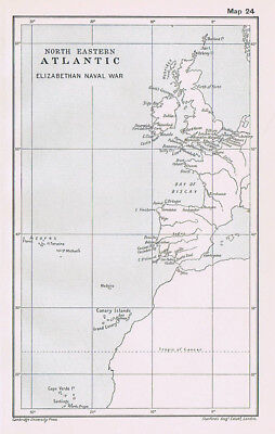 NORTH EASTERN ATLANTIC During the Elizabethan Naval War Antique Map 1912