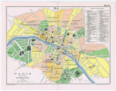 PARIS Plan of the City during the Revolution Antique Map 1912