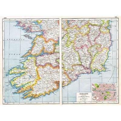 Antique Map 1920 - IRELAND (South) inset of Dublin - Harmsworth Atlas