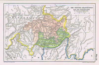 SWITZERLAND The Grisons and the Valtelline Antique Map 1912