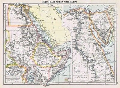 NORTH EAST AFRICA & EGYPT Vintage Map 1926 by Philip & Son