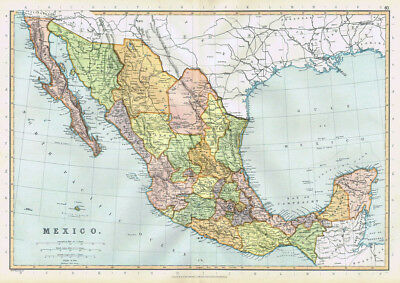 MEXICO Antique Map 1895 by Blackie
