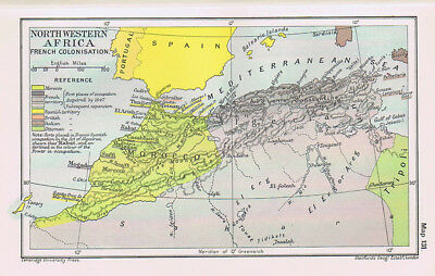 NORTH WESTERN AFRICA French Colonisation Antique Map 1912
