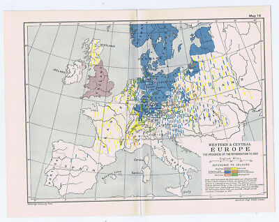 EUROPE The Progress of the Reformation to 1560 Antique Map 1912